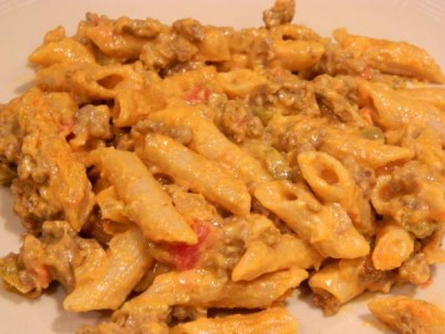 CHEESY PASTA CHICKEN SALSA DISH